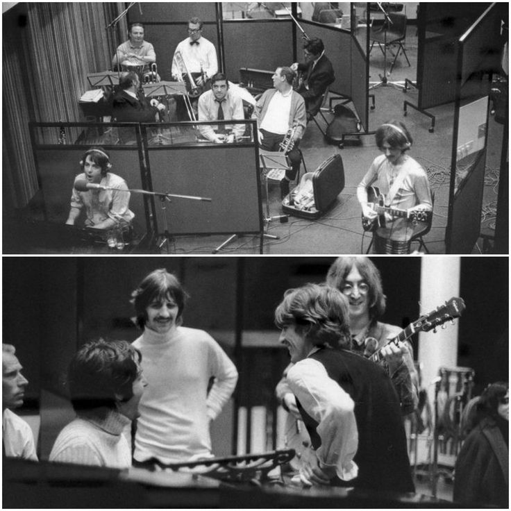 """1 - The Beatles (George & Paul), with session musicians, at Trident Studios in London. They are recording Paul McCartney's song Martha My Dear for the White Album, on October the 4th 1968. 2 - The Beatles working out an arrangement for """"Honey Pie"""" at the Trident Studios on the 1st of October 1968."""