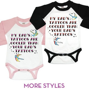 Baby Boy Tops - Psychobaby My Mom or Dad's Tattoos One-Piece: Baby Brenda, Baby Cash, Baby Cora, Baby Christopher, Baby Bray, Baby Girl, Baby Alaina, Baby Boy, Mom