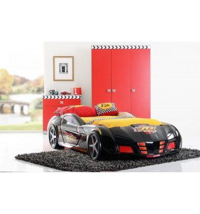 Livraison rapide - Une véritable voiture de course, avec des roues et une belle finition noire laquée! Fabriqué dans du bois massif, ce lit en plus d'être ...