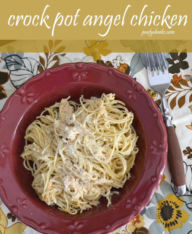 """Slow Cooker Angel Chicken ~    This """"angelic"""" plate of pasta is made with boneless chicken breasts, cream of chicken soup, chive and onion cream cheese, white wine, angel hair pasta, and more.    Recipe @:  http://www.poofycheeks.com/2013/01/crock-pot-angel-chicken.html"""