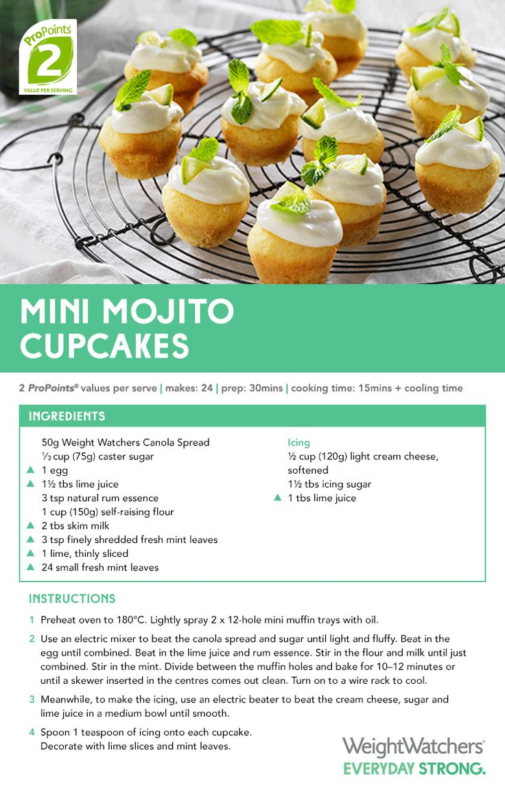 #WeightWatchers Mini Mojito #cupcake #recipe.. so good for a tasty little #treat when guests pop in or just to enjoy on your own