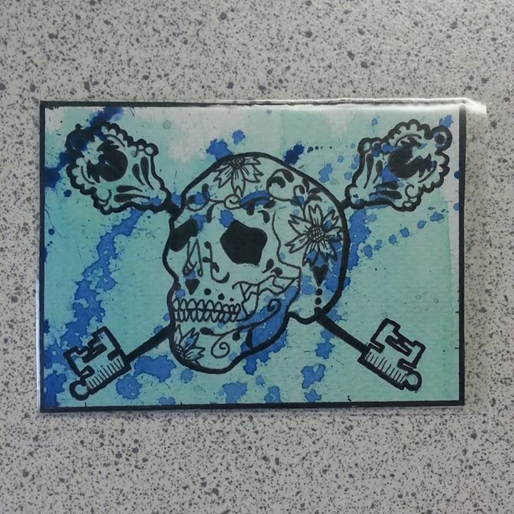 Sugar Skull ATC series - Blue