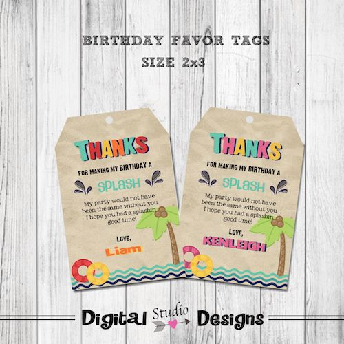 Pool Party Favor Tags – Pool Party Birthday Thank You Favor Tags – Girl Pool Party Favor Tags – Boy Pool Party Birthday Favor Tags – Personalized –
