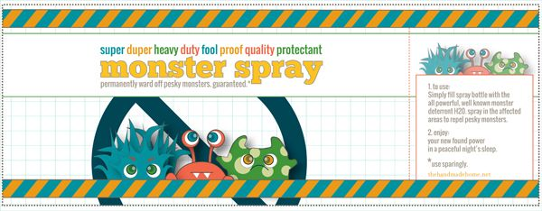"""What a GREAT idea!!!....printable label for a DIY bottle of """"Monster Spray""""!!!"""