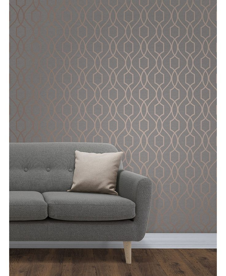 The Apex Geometric Trellis Wallpaper has a contemporary metallic copper finish which has been set upon a charcoal grey background. Free UK delivery available