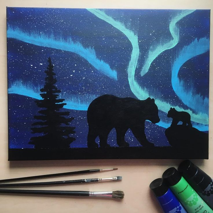 Bear Silhouette Painting Mother and baby bear Northern Lights Aurora Borealis Tree
