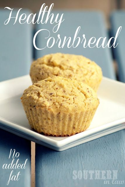 Healthy Cornbread Muffins - cornmeal, plain (GF) flour, unsweetened applesauce, salt, baking powder, baking soda, water or milk of choice