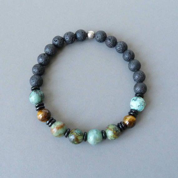 Bracelet Homme, Fête des Pères, Bracelet Perles Hipster Turquoise Bohème Boho Rustique : Bijoux pour hommes par bleuluciole