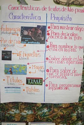 Characteristics of Nonfiction Texts Chart from Bilingual 2nd Grade Teacher's classroom