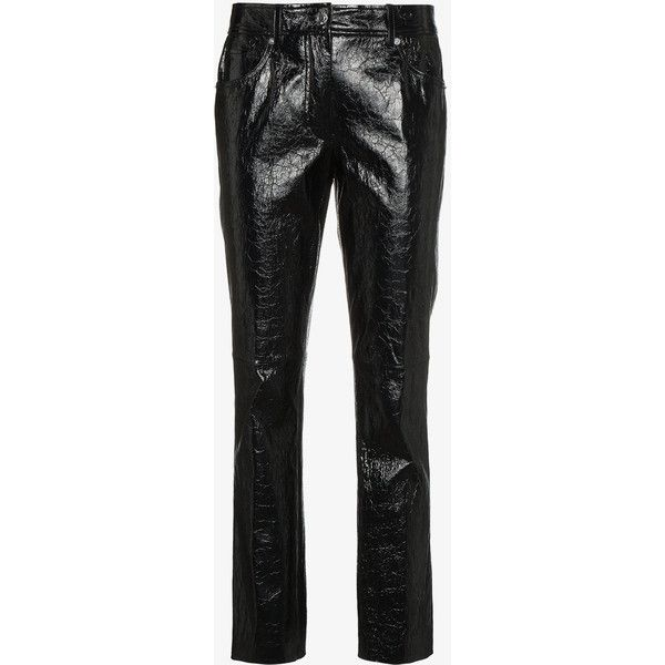Helmut Lang Leather Mid Rise Cropped Trousers ($1,715) ❤ liked on Polyvore featuring pants, capris, black, helmut lang trousers, leather trousers, mid rise pants, cropped capri pants and helmut lang pants
