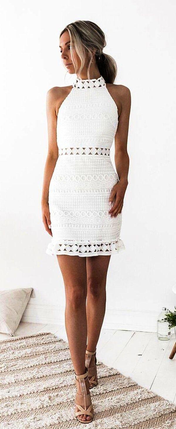 #fall #outfits women's white close-neck sleeveless mini dress