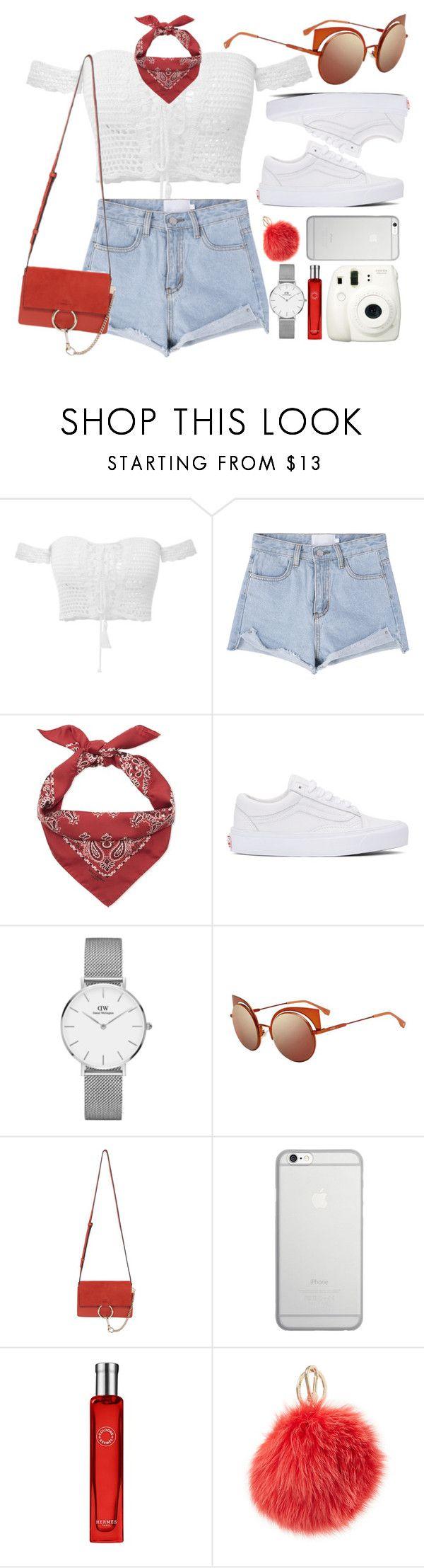 """Summer Girl"" by smartbuyglasses-uk ❤ liked on Polyvore featuring Yves Saint Laurent, Vans, Daniel Wellington, Fendi, Chloé, Native Union, Fuji, Hermès, Furla and white"