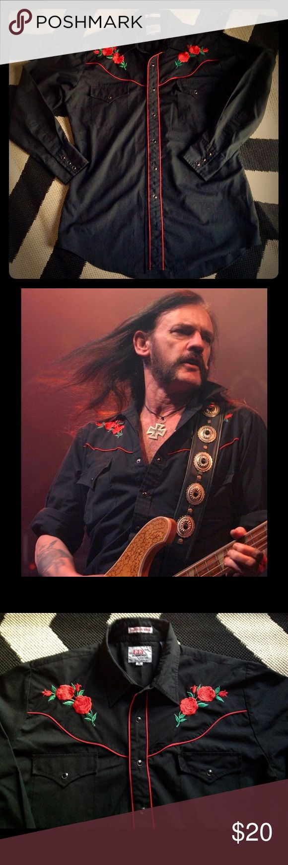 """Ely Diamond """"American Rose"""" Rockabilly Shirt Classic Cowboy Western Rockabilly Vintage Style Black with Embroidered Red Rose's Shirt with Black Pearl Snaps Dating Back to 1980's Signature look by Motorhead's Late Great Lemmy Kilmister Ely Diamond Tops Button Down Shirts"""