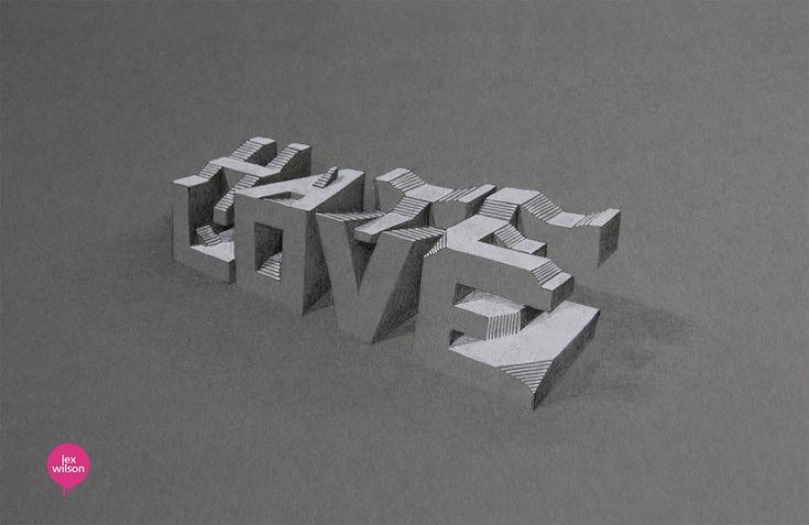 Lex Wilson's new 3D drawings. http://illusion.scene360.com/art/76104/lex-wilson-3d-typography/