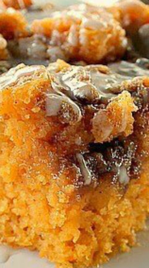 Sweet Potato Cinnamon Roll Cake ~ Incredibly delicious…a dense moist sweet potato cake that tastes like a cinnamon roll.