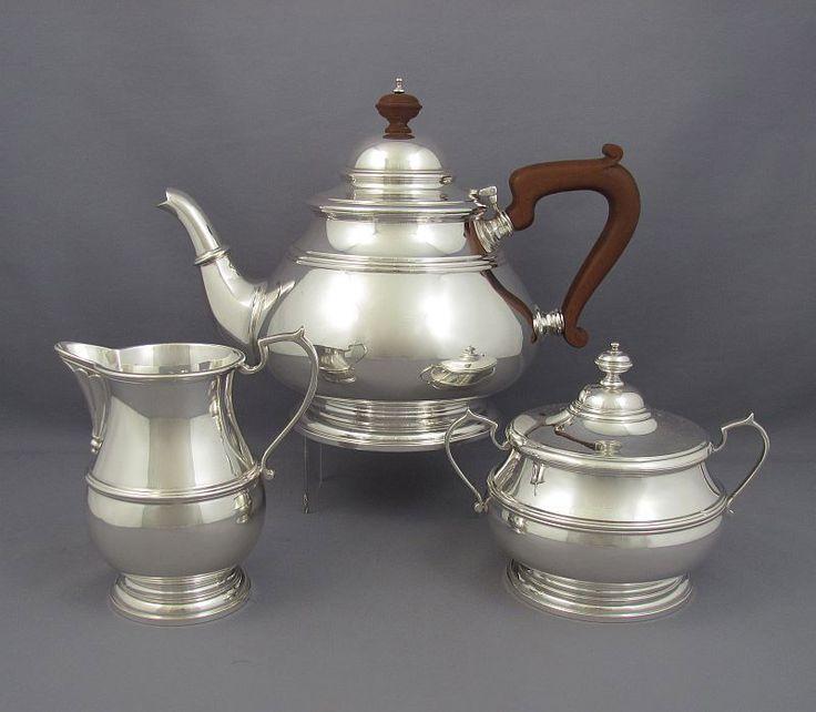 An Irish sterling silver tea set hallmarked Dublin 1970 by Irish Silver Ltd. In the Queen Anne style, baluster shaped...