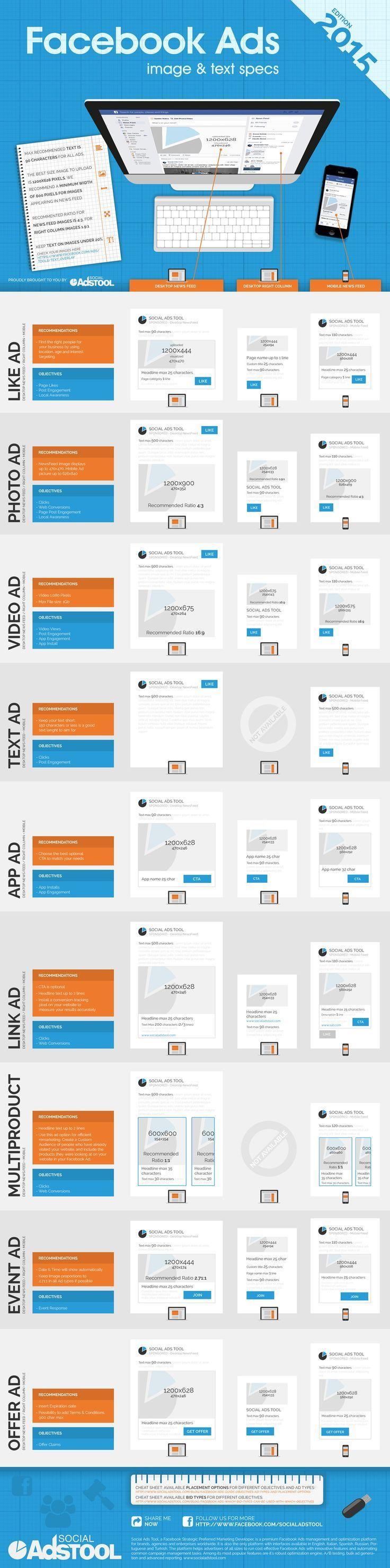 Social Ads Tool - InfoGraphic - Facebook Ads - Image & text specs - 2015 (scheduled via http://www.tailwindapp.com?utm_source=pinterest&utm_medium=twpin&utm_content=post777455&utm_campaign=scheduler_attribution)
