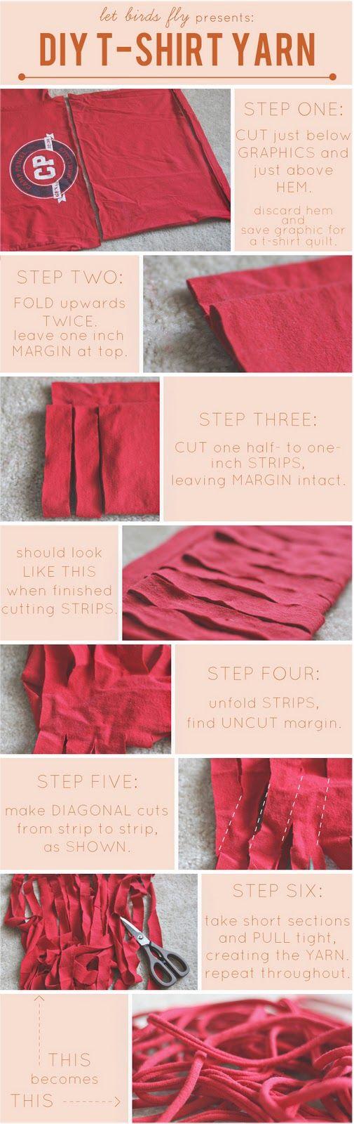 tshirt yarnT Shirts Yarns, Ideas, Tees Shirts, Crochet, Tshirt Yarns, Diy T Shirts, How To, Knits, Crafts