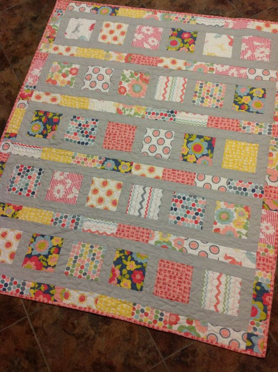 Sweet and Modern Baby Quilt in Hullabaloo fabrics - cute layout