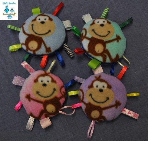 Monkey taggie rattles. So soft and fun. $5 each. Click on photo to order. #rattle #monkey #baby #handmade #taggie #sosoft