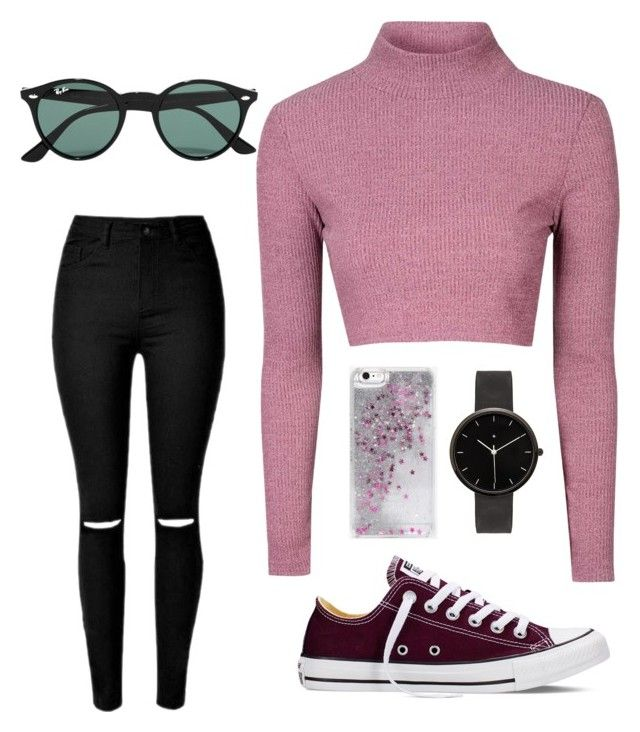 """""""why not?"""" by sofia-delgado-sanchez on Polyvore featuring Glamorous, Converse, Ray-Ban, Skinnydip, I Love Ugly, women's clothing, women, female, woman and misses"""