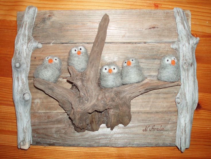 Ugglor- felted owl family art Pinned by www.myowlbarn.com