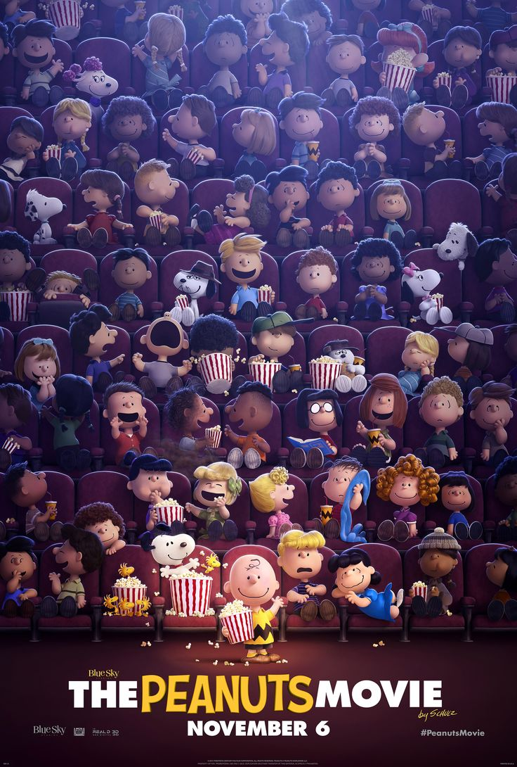 The peanuts movie poster: Como pueden ver, la niña peliroja no se le ve nada excepto el cabello. Y ademas, en este poster se pueden ver los hermanos de Snoopy.