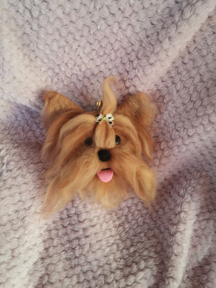 Needle felted pouche / dog/Yorkshire coin purse by HappyFeltingHour on Etsy