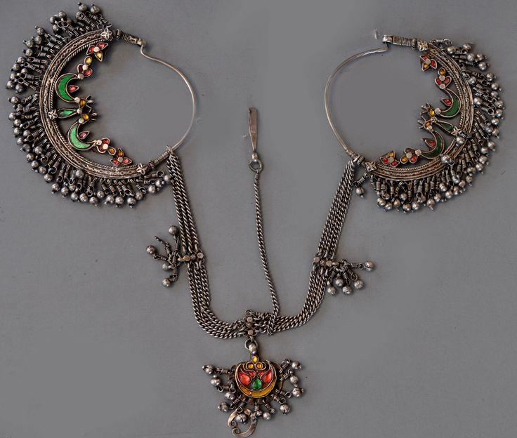India | Silver headdress earring set, glass inlaid | Uttar Pradesh, Late 19th century