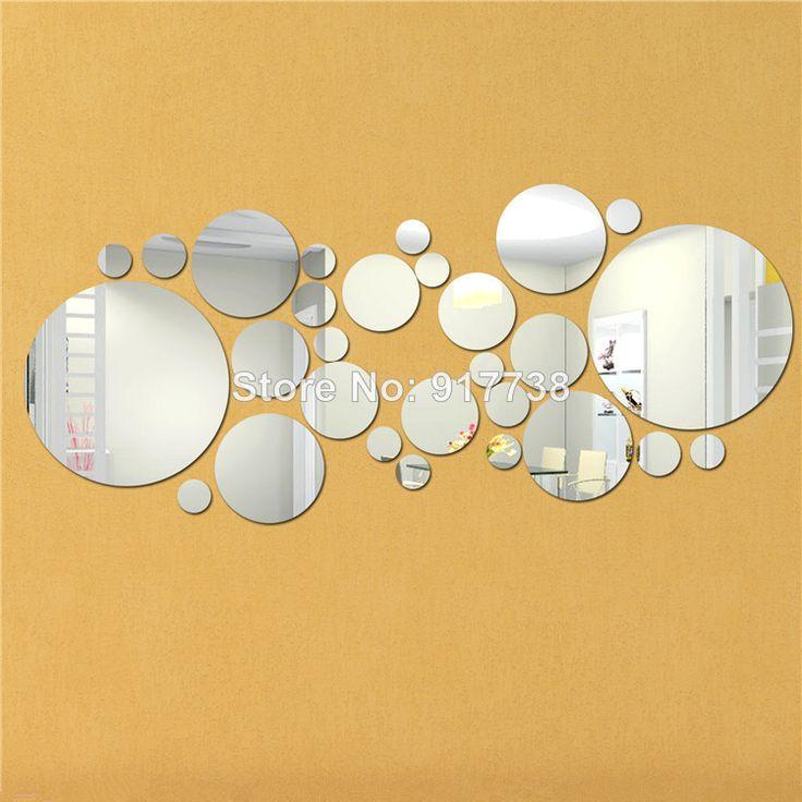 BIG SIZE 28PCS/set round DIY mirror wall stickers home decoration wall paper DIY circles HOT DESIGN Free shipping