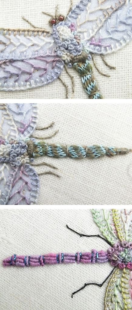 embroidered dragonflies