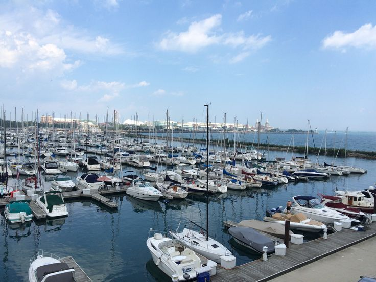 View of the marina from the Chicago Yacht Club ship.