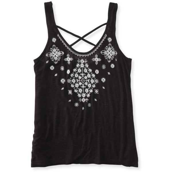 Aeropostale Southwest Embroidered Tank (20 BRL) ❤ liked on Polyvore featuring tops, shirts, black, relaxed fit shirt, relax shirt, going out tops, night out tops and party tops