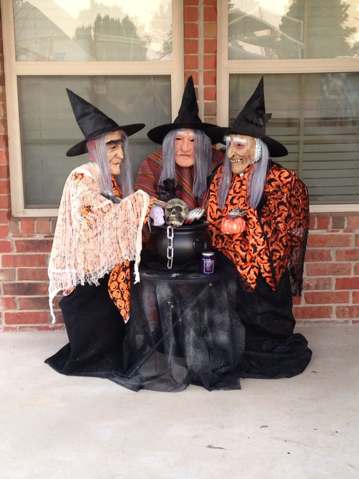 These 3 little witches were a big hit with my trick or treaters.I used tomato cages turned upside down. I used a 6 inch styrofoam ball for the heads.I used 2 inch pvc pipe for the shoulders and ran a coat hanger for the arms.I was in luck when I found styrofoam hands.I glued long red nails to the hands,placed pillows on the backside of the witches to give them a hump back look.I bought fabric and placed it on with sewing needles.I found some cheap mask and hats that already had hair on them.