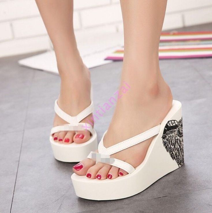 Silk Fabrics Women's Flops Casual High Wedge Platform Sandals Beach Slipper