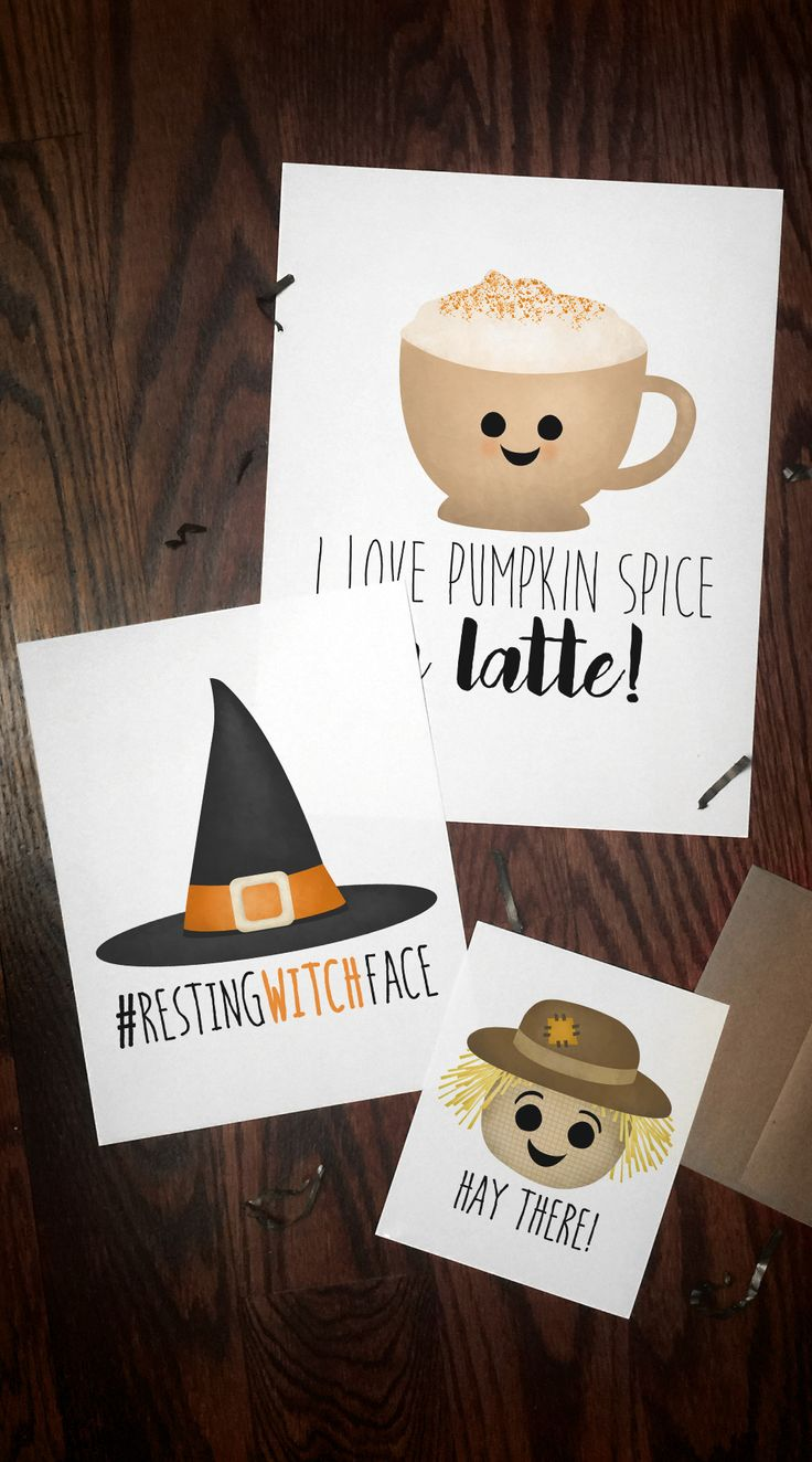 Punny Fall and Halloween printables available for instant download in my Etsy Shop! #pumpkinspice #scarecrow #witch #restingwitchface #haythere #psl #latte #autumn #fall #happyhalloween #halloween #pun #puns #funny