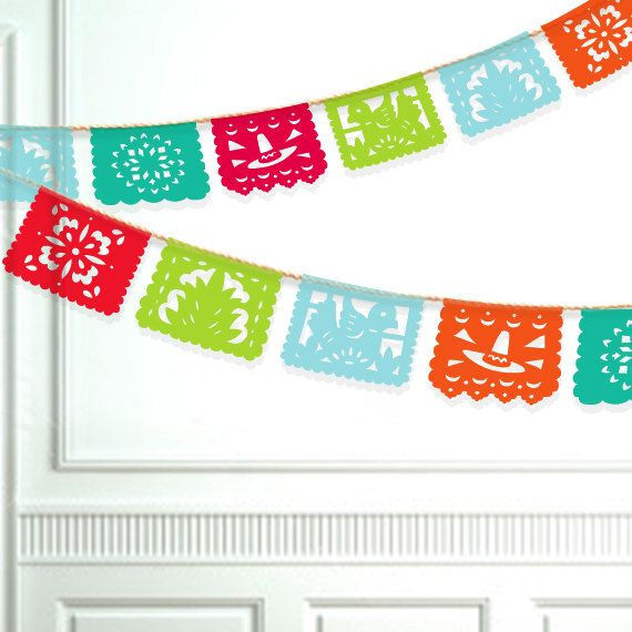 Fiesta banner diy printable papel picado by paperfoxdesign for Papel picado template for kids