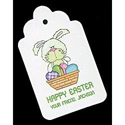 Easter Gift Tags, Bunny with Egg Basket, Personalized Set of 25