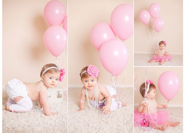 First Birthday girl, pearls, rufflebutt, babylegs, balloons: Meghan Rickard Photography