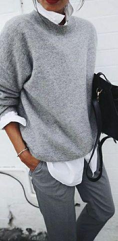 Herbst-Outfit-Idee, verschiedene Graustufen, grau tragen