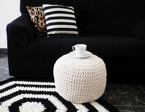 Ecru Cream Ottoman Nursery Footstool Pouf -Ecru Natural Crochet Floor Cushions Pouf -Natural Ottoman Pouf -Eco friendly Decor