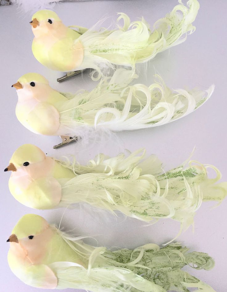 Set Hamptons 4 Green Glitter Feather Birds Christmas Decorations Ornaments New