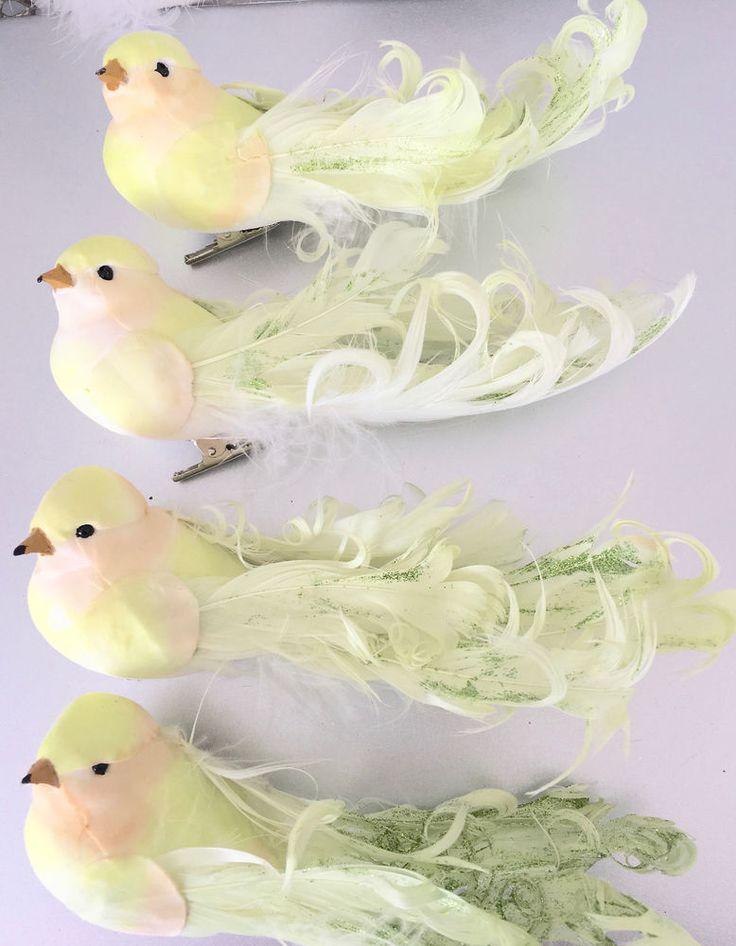 Set Hamptons 4 Green Glitter Feather Birds Christmas Decorations Ornaments New