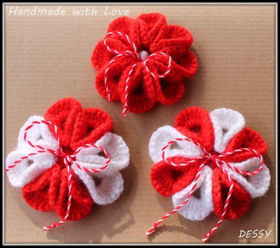 Martenitsa Set of 3 Crochet Flower Brooch by WithLovebyDessy