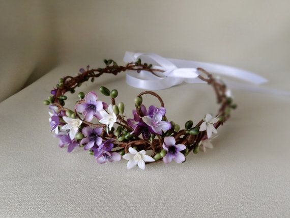 purple flower crown bridal halo hair accessory by thehoneycomb, $90.00