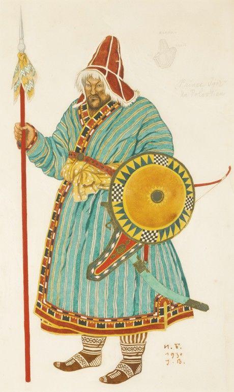 Costume design (1930), by Ivan Bilibin [Иванъ Яковлевичъ Билибинъ] (1876-1942), for Prince Igor [Князь Игорь] (1890), by Alexander Borodin [Александръ Порфирьевичъ Бородинъ] (1833-1887), and Nikolay Rimsky-Korsakov [Николай Андреевичъ Римскій-Корсаковъ] (1844-1908), and Alexander Glazunov [Александръ Константиновичъ Глазуновъ] (1865-1936).