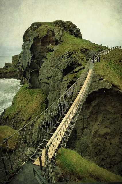 """Carrick-a-Rede Rope Bridge by Child of Danu, via Flickr. North Antrim coast, County Antrim, Northern Ireland. Part of """"Game of Thrones"""" is filmed here on the National Trust's grounds."""