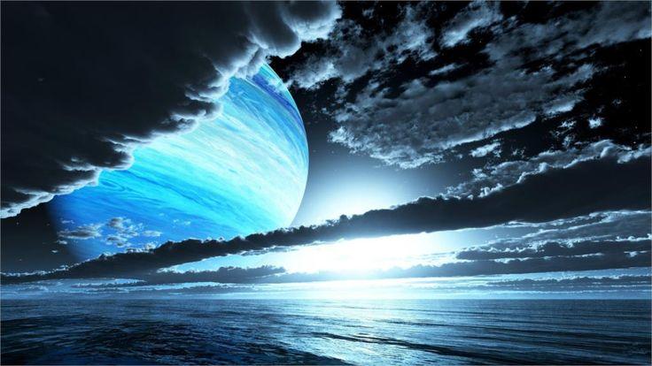 Небо облака планет вечер закат море Украшения Дома Холст Печать Плакатов