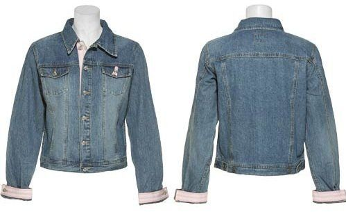 TIE ONE ON NY Pink Ribbon Denim Jacket W/ Rhinestone Buttons [89004D] TIE ONE ON NY. $15.00