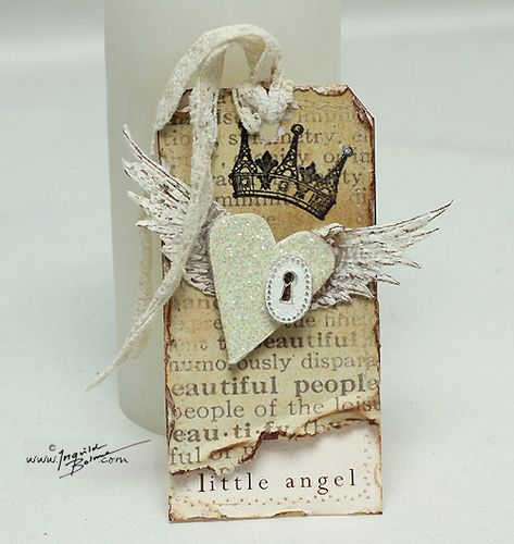 """Wing tutorial included.  Uses from Layers of Colors, """"Beloved Wings"""" art stamps and white Liquid Applique (Marvy)."""